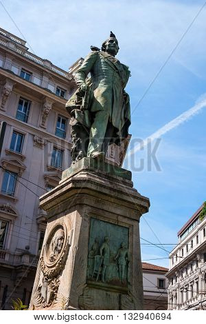 Milan Italy - May 25 2016: Monument Tommaso Grossi -1791 - 1853 Italian poet and writer. Besides poetry all my life worked as a notary.