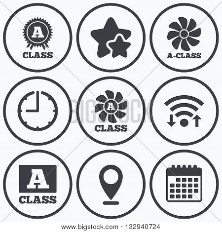 Clock, wifi and stars icons. A-class award icon. A-class ventilation sign. Premium level symbols. Calendar symbol.