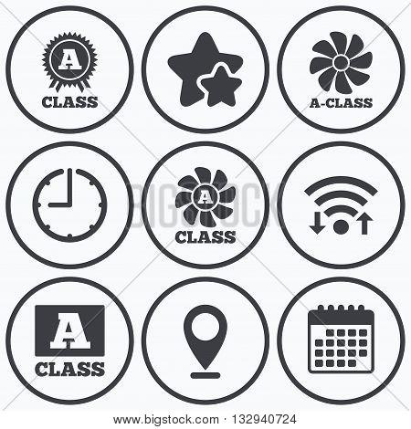 Clock, wifi and stars icons. A-class award icon. A-class ventilation sign. Premium level symbols. Calendar symbol.