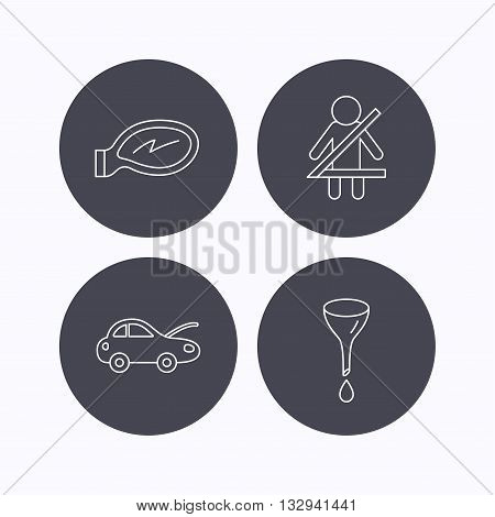 Car mirror repair, oil change and seat belt icons. Fasten seat belt linear sign. Flat icons in circle buttons on white background. Vector