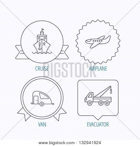 Transportation icons. Cruise, airplane and van linear signs. Evacuator flat line icon. Award medal, star label and speech bubble designs. Vector
