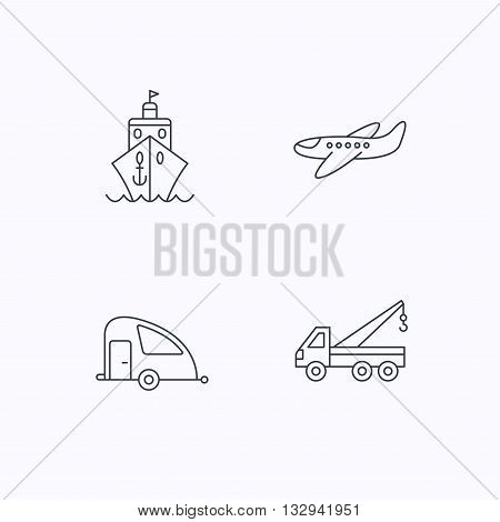 Transportation icons. Cruise, airplane and van linear signs. Evacuator flat line icon. Flat linear icons on white background. Vector