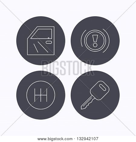 Car key, warning and manual gearbox icons. Car door, transmission linear signs. Flat icons in circle buttons on white background. Vector