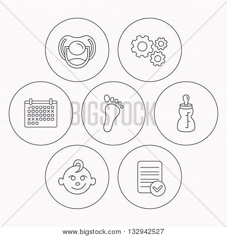 Pacifier, baby boy and bottle icons. Footprin linear sign. Check file, calendar and cogwheel icons. Vector