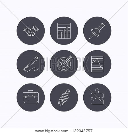 Handshake, graph charts and target icons. Puzzle, pushpin and safety pin linear signs. Briefcase and pen flat line icons. Flat icons in circle buttons on white background. Vector