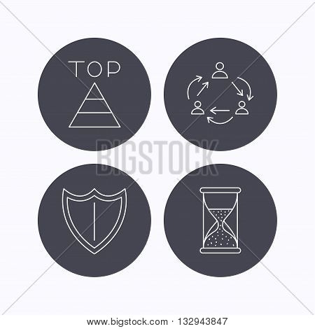 Teamwork, shield and top pyramid icons. Hourglass linear sign. Flat icons in circle buttons on white background. Vector