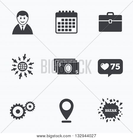 Calendar, like counter and go to web icons. Businessman icons. Human silhouette and cash money signs. Case and gear symbols. Location pointer.