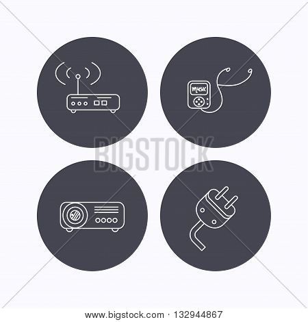 Electric plug, wi-fi router and projector icons. Music player linear sign. Flat icons in circle buttons on white background. Vector