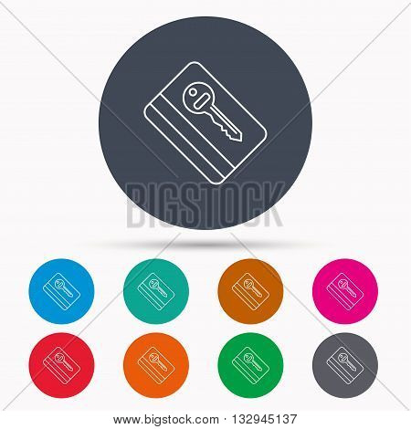 Electronic key icon. Hotel room card sign. Unlock chip symbol. Icons in colour circle buttons. Vector