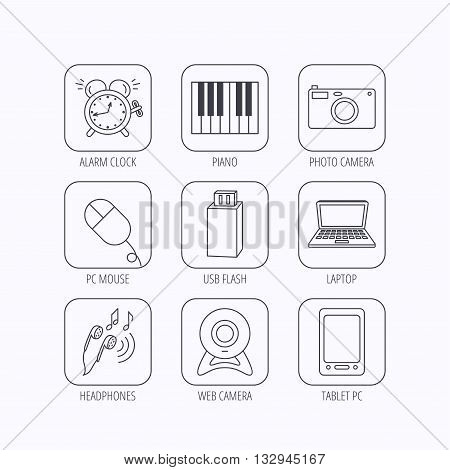Photo camera, USB flash and notebook laptop icons. PC mouse, alarm clock and web camera linear signs. Tablet PC and music headphones icons. Flat linear icons in squares on white background. Vector