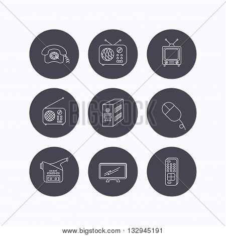 Radio, TV remote and video camera icons. Retro phone, PC case and mouse linear signs. Flat icons in circle buttons on white background. Vector