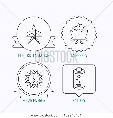 Solar energy, battery and minerals icons. Electricity station linear sign. Award medal, star label and speech bubble designs. Vector