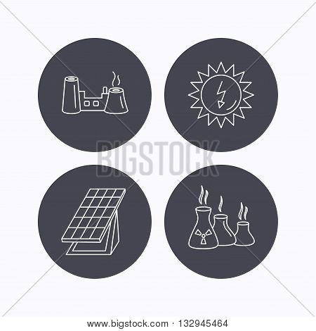 Solar collector energy, factory and industries icons. Solar energy linear signs. Flat icons in circle buttons on white background. Vector