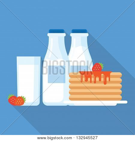 Healthy breakfast illustration, stack of pancakes with syrup, strawberries and glass of milk. Modern flat vector icon.