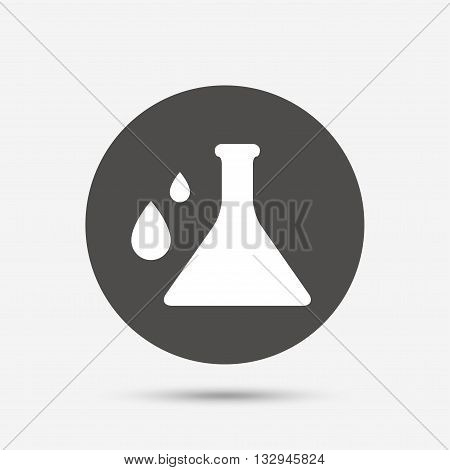 Chemistry sign icon. Bulb symbol with drops. Lab icon. Gray circle button with icon. Vector