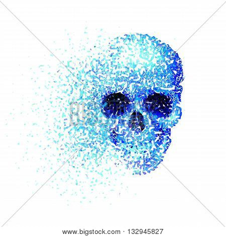 Skull with blue pieces isolated on white