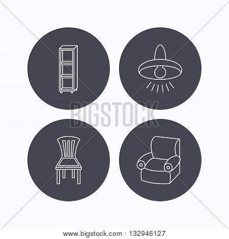 Chair, ceiling lamp and armchair icons. Shelving linear sign. Flat icons in circle buttons on white background. Vector