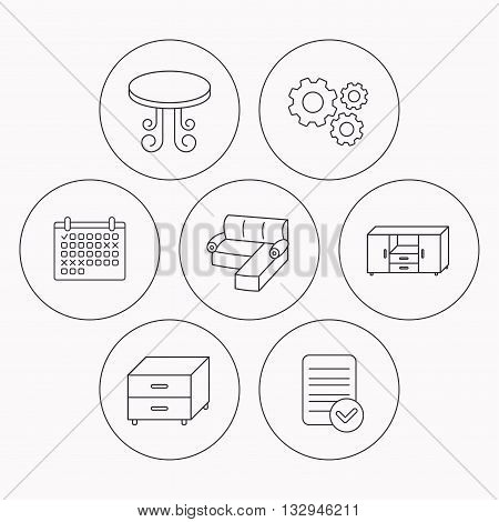 Corner sofa, table and nightstand icons. Chest of drawers linear sign. Check file, calendar and cogwheel icons. Vector