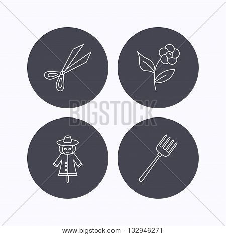 Scissors, flower and pitchfork icons. Scarecrow linear sign. Flat icons in circle buttons on white background. Vector