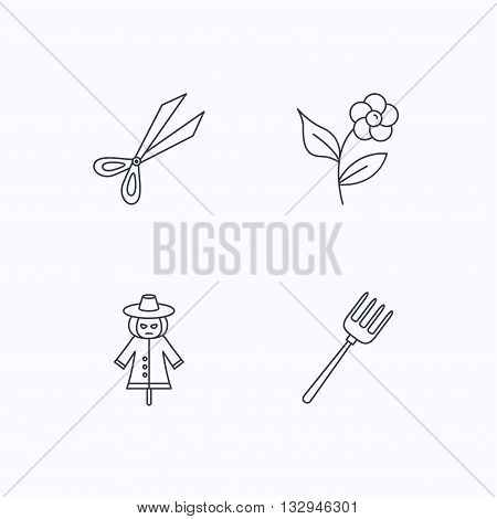 Scissors, flower and pitchfork icons. Scarecrow linear sign. Flat linear icons on white background. Vector