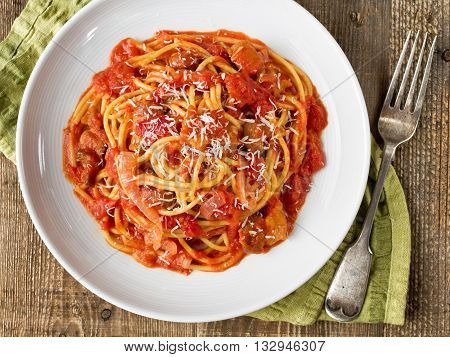 close up of rustic italian bucatini amatriciana