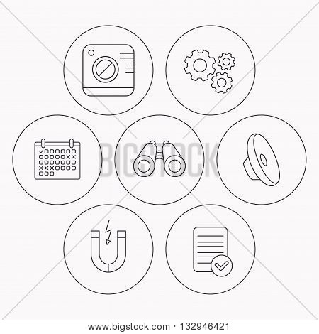 Photo camera, magnet and sound icons. Search linear sign. Check file, calendar and cogwheel icons. Vector