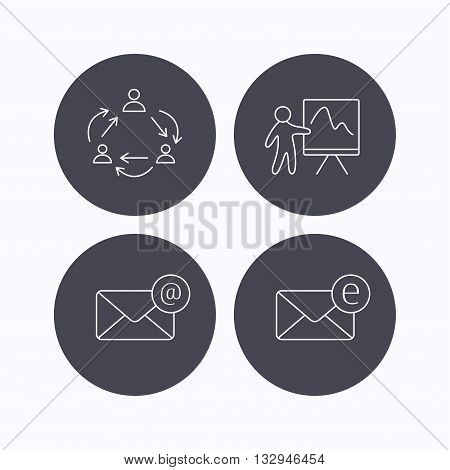 Teamwork, presentation and e-mail icons. E-mail inbox linear sign. Flat icons in circle buttons on white background. Vector