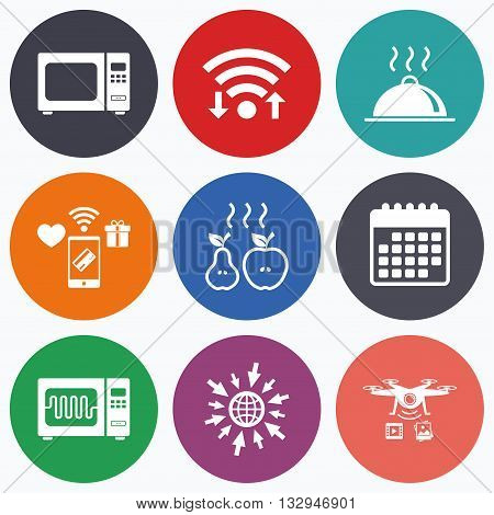 Wifi, mobile payments and drones icons. Microwave grill oven icons. Cooking apple and pear signs. Food platter serving symbol. Calendar symbol.