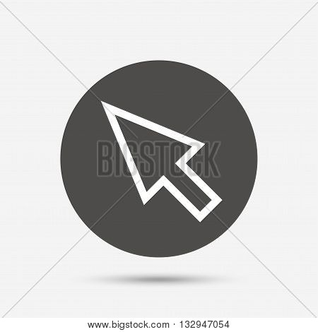 Mouse cursor sign icon. Pointer symbol. Gray circle button with icon. Vector
