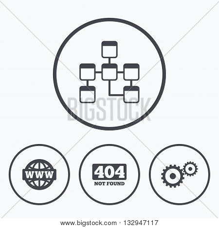 Website database icon. Internet globe and gear signs. 404 page not found symbol. Under construction. Icons in circles.