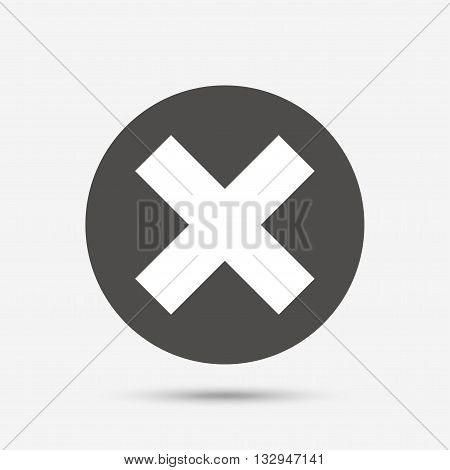 Delete sign icon. Remove button. Gray circle button with icon. Vector