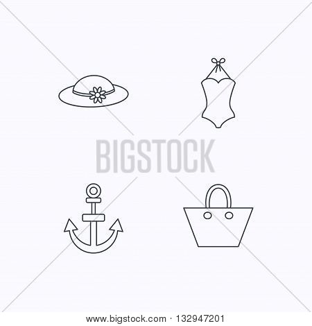 Anchor, ladies handbag and swimsuit icons. Swimsuit linear sign. Flat linear icons on white background. Vector