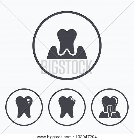 Dental care icons. Caries tooth sign. Tooth endosseous implant symbol. Parodontosis gingivitis sign. Icons in circles.