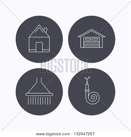 Real estate, garage and shower icons. Fire hose linear sign. Flat icons in circle buttons on white background. Vector