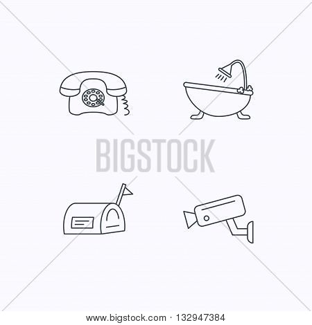 Retro phone, video camera and mailbox icons. Bath linear sign. Flat linear icons on white background. Vector