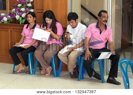 YALA THAILAND - March 8 : People await their cue pay income tax to ithholding . Revenue Office of Yala in southern Thailand. on March 8 2016