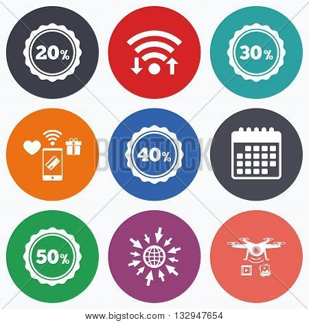 Wifi, mobile payments and drones icons. Sale discount icons. Special offer stamp price signs. 20, 30, 40 and 50 percent off reduction symbols. Calendar symbol.