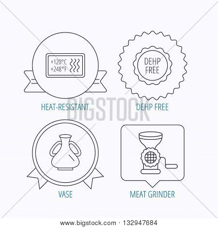 Meat grinder, vase and heat-resistant icons. DEHP free linear sign. Award medal, star label and speech bubble designs. Vector