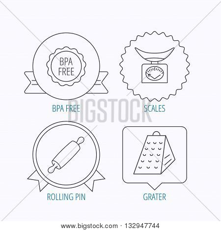 Kitchen scales, rolling pin and grater icons. BPA free linear sign. Award medal, star label and speech bubble designs. Vector