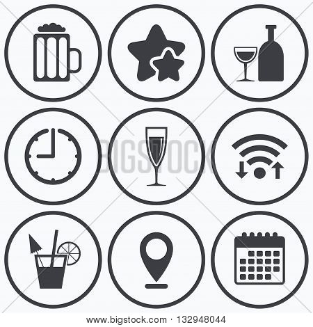Clock, wifi and stars icons. Alcoholic drinks icons. Champagne sparkling wine and beer symbols. Wine glass and cocktail signs. Calendar symbol.