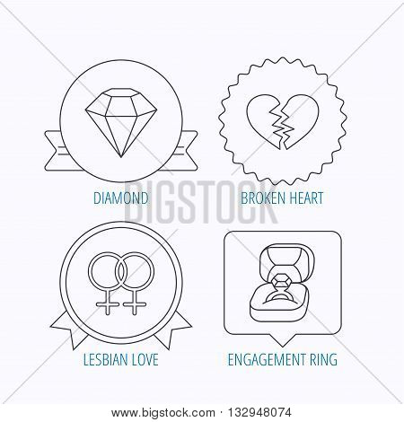 Broken heart, diamond and engagement ring icons. Lesbian love linear sign. Award medal, star label and speech bubble designs. Vector