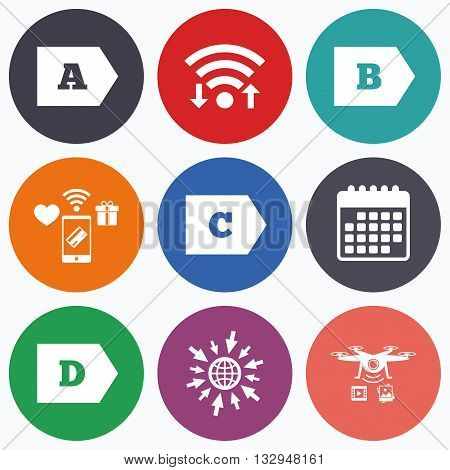 Wifi, mobile payments and drones icons. Energy efficiency class icons. Energy consumption sign symbols. Class A, B, C and D. Calendar symbol.