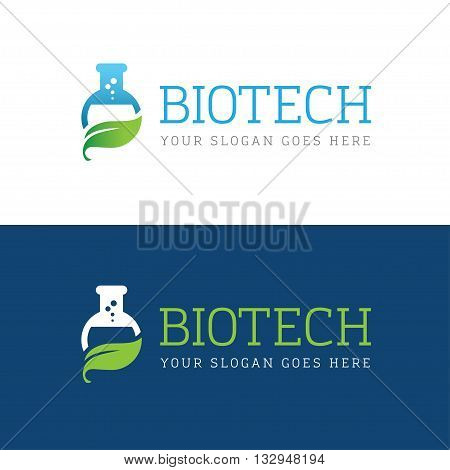 Icon with flask and leaf for biotechnology chemical research laboratory medical herbal pharmaceutics logo concept design
