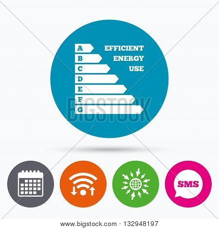 Wifi, Sms and calendar icons. Energy efficiency sign icon. Electricity consumption symbol. Go to web globe.