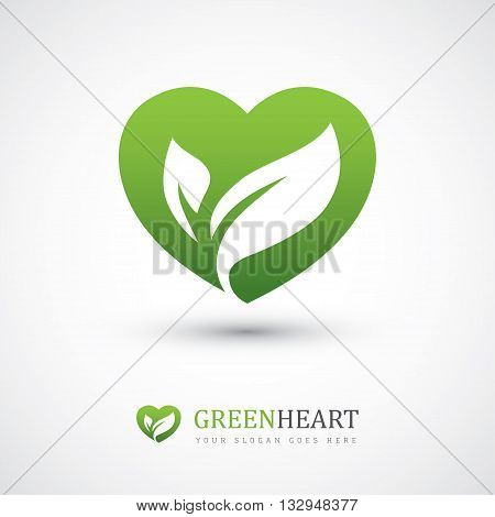 Green vector icon with heart shape and two leaves. Can be used for eco vegan herbal healthcare or nature care concept logo design