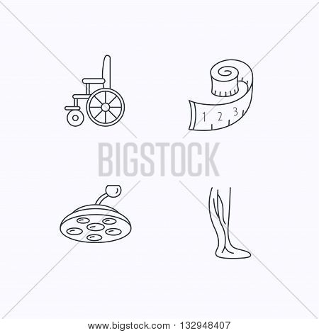 Weight loss, wheelchair and vein varicose icons. Surgical lamp and phlebology linear signs. Flat linear icons on white background. Vector