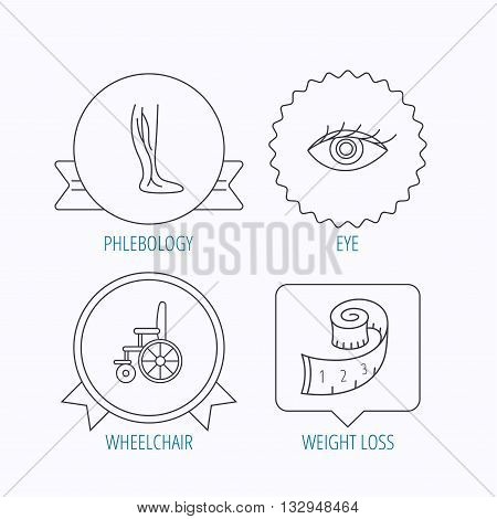 Vein varicose, wheelchair and weight loss icons. Eye linear sign. Award medal, star label and speech bubble designs. Vector