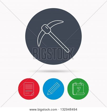 Mining tool icon. Pickaxe equipment sign. Minerals industry symbol. Calendar, pencil or edit and document file signs. Vector