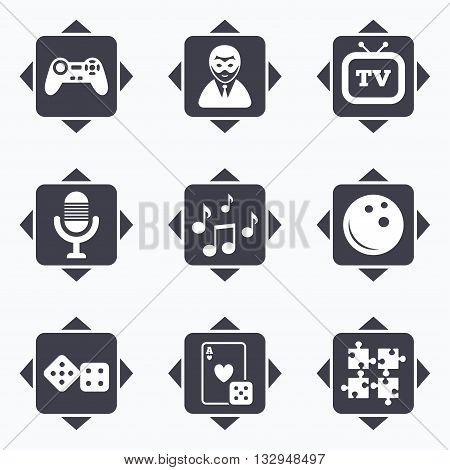 Icons with direction arrows. Entertainment icons. Game, bowling and puzzle signs. Casino, carnival and musical note symbols. Square buttons.