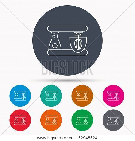 Mixer icon. Electric blender sign. Icons in colour circle buttons. Vector